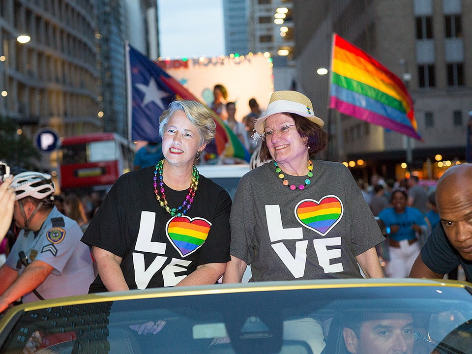 Houston Pride 2015 Mayor Annise Parker and wife Kathy Hubbard