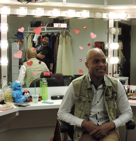 Tarra Gaines TUTS Kinky Boots Darius Harper as Lola February 2015 Harper withPiscitelli in mirror