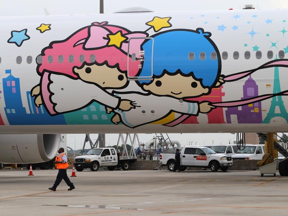 EVA Air Hello Kitty jet on runway