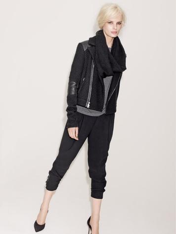 Nordstrom rocker chic model wearing black Vince bouclé leather jacket, $695