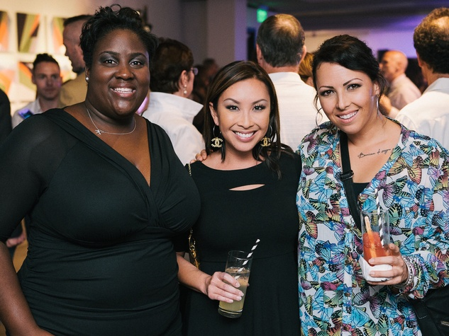 23 Kelly-Ann Clarke, from left, Lily Jang and Carrie Ferran at CultureMap fifth anniversary birthday party October 2014