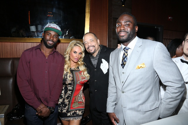 6 Jaiquawn Jarrett, from left, Coco Austin, Ice-T and Demario Davis at the opening of Mastro's Steakhouse in NYC November 2014