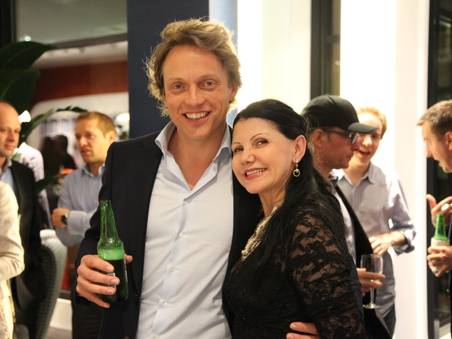 Fokke de Jong and Emilia Batista at the Suitsupply Houston grand opening party December 2013