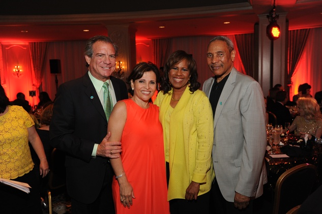Michael and Lucia Cordúa, from left, Melanie Lawson and John Guess Jr. at the Houston Arts Alliance event with Rita Moreno May 2014