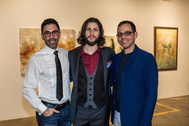 Christian Gabriel Alvarado, from left, Justin Garcia and Jose Marquez at Justin Garcia presents 7 Unlayered October 2014