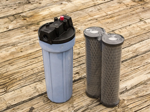 Photo of water filter housing and cartridges