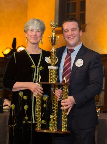 21 Linda Marshall and Ben Wickert at the Great Grown-Up Spelling Bee January 2014