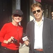 Jane Howze and Italian TV newscaster in Venice