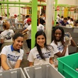 News, Shelby, Silver Eagle Distributors at Food Bank, July 2015 , Maribel Torres, Karen Paniagua, Shamika Hamilton