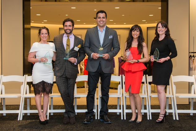 Nina Gutierrez Garcia, from left, Sam Governale, Nick Stefanakis, Hasti Taghi and Katie Tipper McWhorter at the Leukemia & Lymphoma Society Man & Woman of the Year Kick-off April 2015