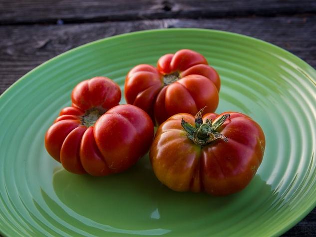 Photo of heirloom tomatoes