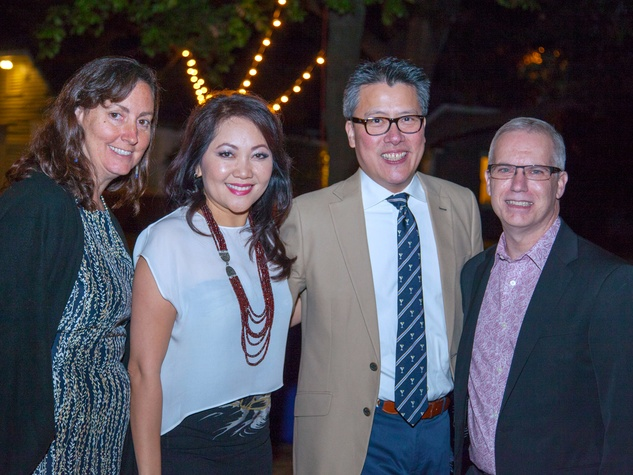 Carol Price, from left, Thuy Tran, Gary Gee and Michael DeVoll at Rothko Chapel's Moonrise Party on the Plaza October 2013