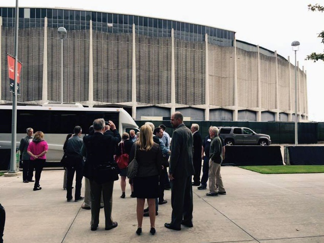 Astrodome partially power washed December 2014 day of ULI National Advisory report on NRG Astrodome