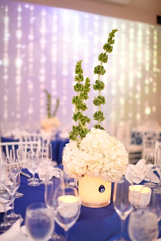 Wedding Pugh Dascoulias floral arrangement with Greek evil eye