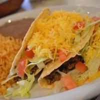 Cafe Adobe, crispy taco, ground beef, cheese, rice