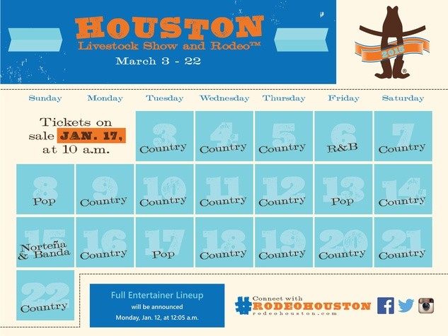Houston Livestock Show and Rodeo 2015 genre calendar release November 2014