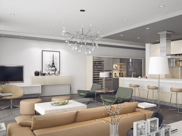 The Monroe at Bayou Park living area with hardwood flooring and quartz countertops