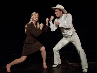 Esther's Follies performers as Wendy Davis and Ricky Perry squaring off
