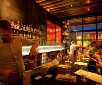 Mongoose Versus Cobra bar Houston people at bar with bartender
