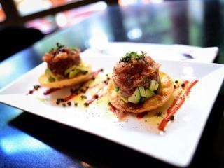 Boudro's Texas Bistro tuna tartare tostados appetizer