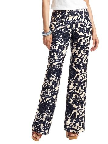 loft Julie Wide Leg Linen Blend Pants in Vine Print
