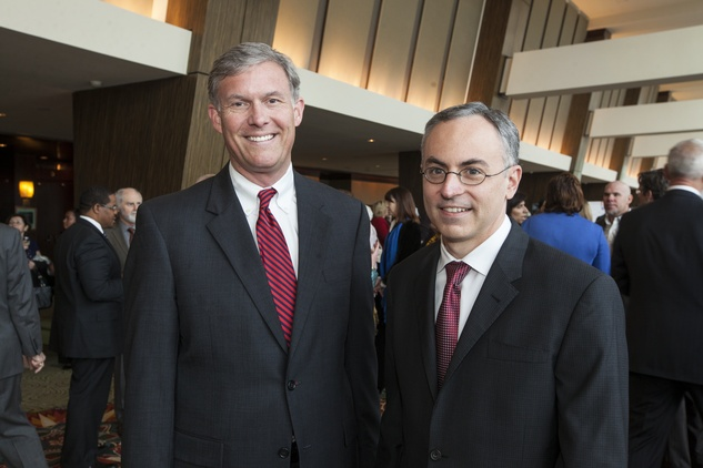Mark DeWalch, left, and Michael Dokupil at the Neighborhood Centers' Heart of Gold Celebration February 2014