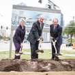 Mayor Annise D. Parker, from left, John L. Nau, III and Ric Campo at the Nau Center Groundbreaking Ceremony November 2014