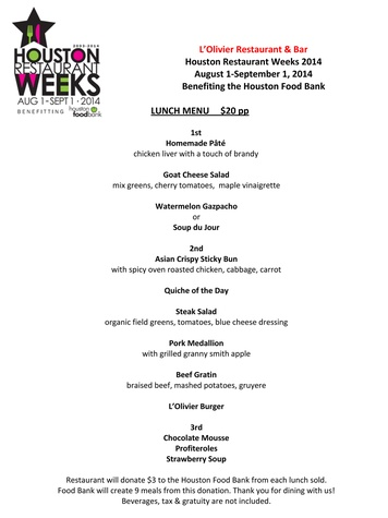 L'Olivier menu Houston Restaurant Weeks August 2014 lunch menu