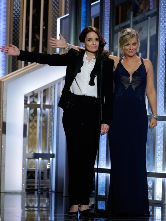 32 Tina Fey, left, and Amy Poehler Golden Globes fashion January 2015