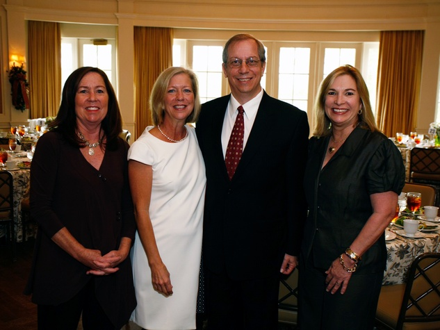 2 Mary Pat Matheson, from left, Emily Wilde, Jeff Ross and Nancy Abendshein at the Houston Botanical Gardens luncheon December 2013