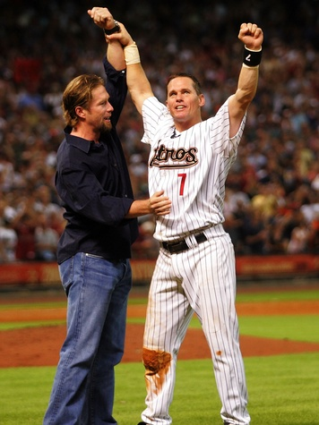 HOUSTON - JUNE 28- Second baseman Craig Biggio #7 of the Houston Astros reacts with his former teammate Jeff Bagwell after getting his 3,000th career hit against the Colorado Rockies in the 7th inning on June 28, 2007 at Minute Maid Park in Houston,