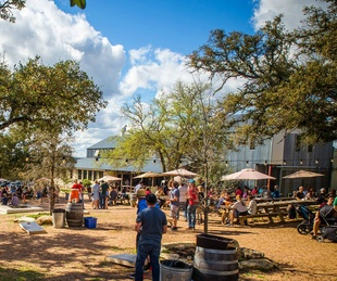 Jester King Brewery Hill Country outdoor patio seating