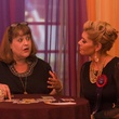 """45 Fortune Teller Joelle of Enlightened Spiritual Solutions gives a reading to Veronica """"Vee"""" Mier at the HAA inaugural 40 under 40 party September 2014"""