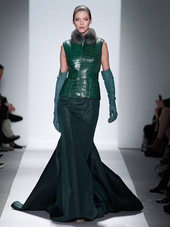 Fashion Week fall 2013, Dennis Basso, February 2013, leather vest with green gown