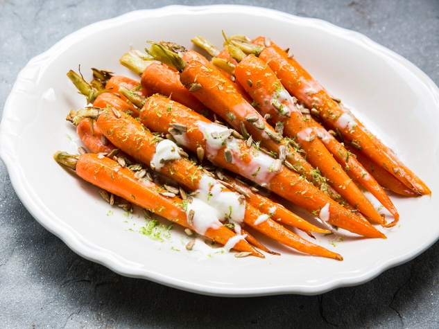closer look at glazed carrots with creme fraiche and pumpkin seeds ...