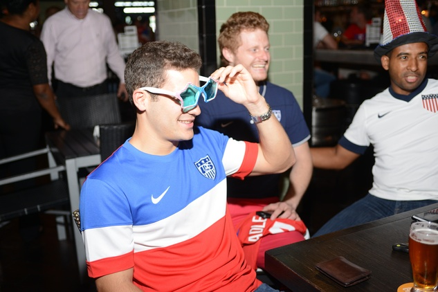 Doug Koenit, from left, Galen Kragas and Christian Filigrana at the World Cup Watch Party with Dynamo players at Local Pour June 2014