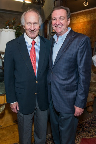 Jim Crownover, left, and Ralph Burch at the Abraham's Oriental Rug dinner September 2014
