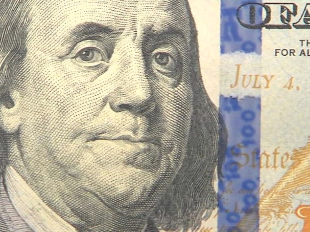 new $100 bill with George Washington closeup