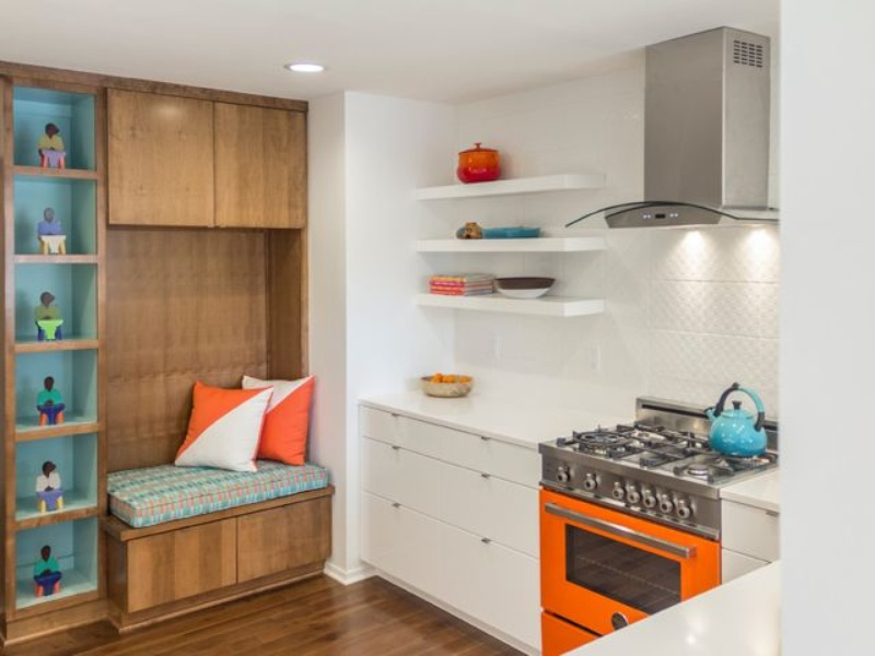 Houzz kitchen with wood accent wall