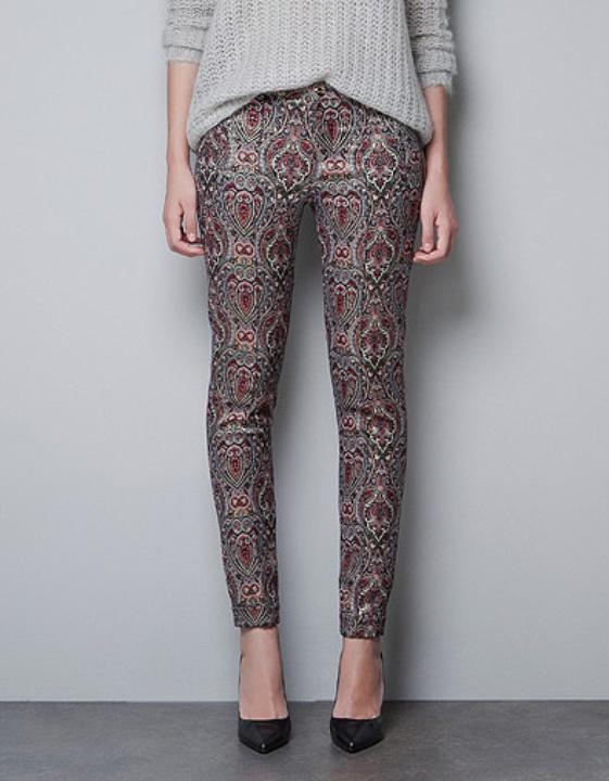 Zara Metallic Jacquard Trousers