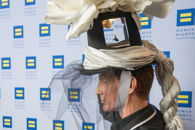 """13 Tim Kerwin and """"Bob Barker"""" the Fish at Human Rights Campaign Alice's Adventures in Equality event February 2015"""