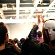 Halloween party with masked person