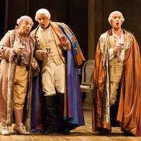 Houston Grand Opera Cosi fan tutte October 2014 Alessandro Corbelli as Don Alfonso, from left, Norman Reinhardt as Ferrando and Jacques Imbrailo as Guglielmo
