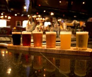 Beer flight from Thirsty Lion Gastropub