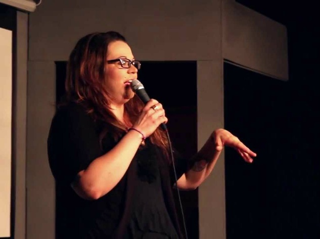 stand up comedian Kat Ramzinski performing