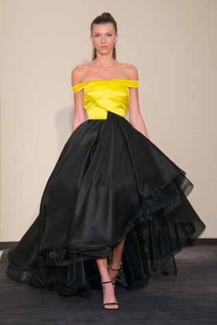Rubin Singer Dress for Dinner model in yellow and black dress
