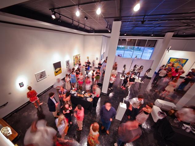 10 1 Lawndale Art Center The Big Show VIP reception July 2013 crowd venue