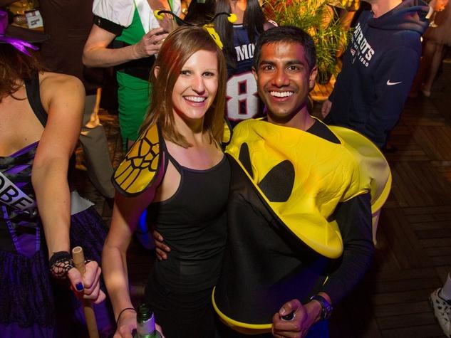 Jacqui and Varun Babbili at the St. Luke's PULSE Saints & Sinners Halloween party October 2013