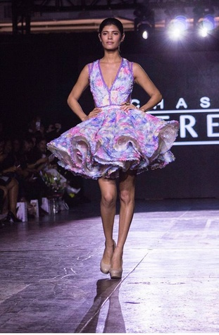 Chasity Sereal floral dress at New York Fashion Week