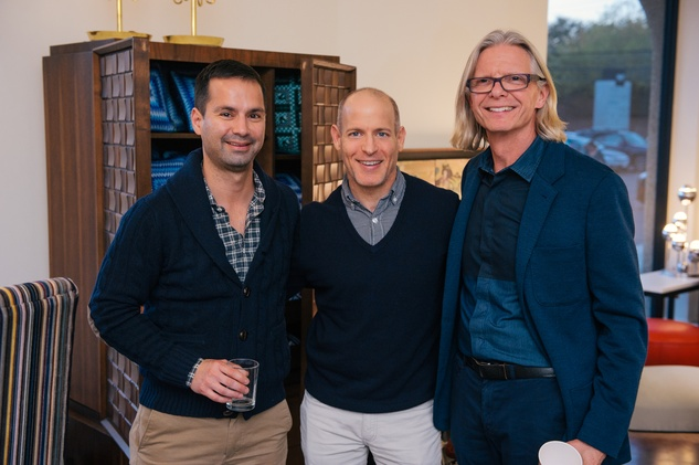 10 Luis Vernium, from left, Robert Katz and Kevin Stevens at the Lynn Goode Vintage opening reception March 2014
